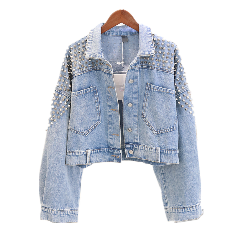 Vintage Denim Jacket Womens 2020 Autumn Fashion Rivet Bat Sleeve Jean Jackets Ladies Students Loose Casual Jeans Coat Outwear