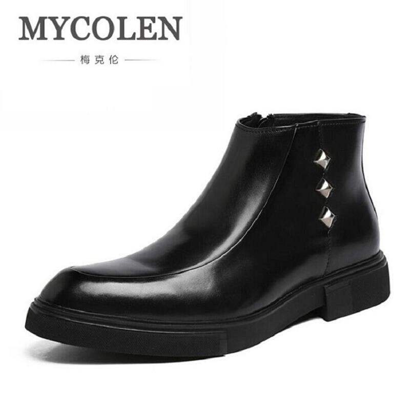 MYCOLEN Men's Ankle Chelsea Boots Winter NEW Man Italian Fashion Black Round Toe Side Zipper Rubber Boots Leather Work Shoes 2018 fashion cow leather zipper superstar winter boots women round toe low heel solid concise pregnant chelsea ankle boots l08