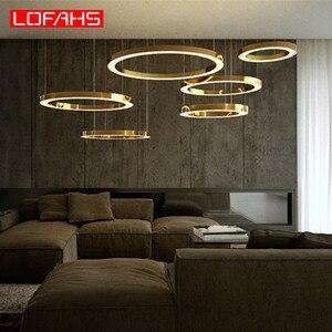 Image 5 - LOFAHS Modern LED avize lüks büyük kombinasyon daire oturma odası için led lamba asılı fikstür yüzük avizeler lamba