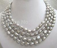 Jewellery hot! 75'' south sea baroque gray pearl necklace