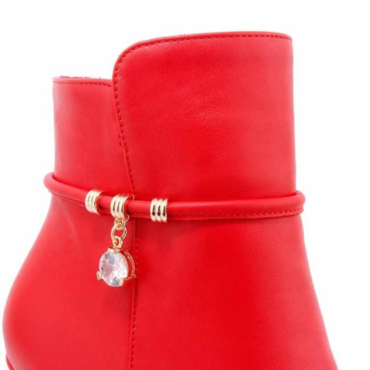 MLJUESE 2018 kadın yarım çizmeler sonbahar kristal Kısa peluş fermuarlar beyaz renk binici çizmeleri kadın boyutu 32-43 kadın botları