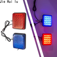 2Pcs Motorcycle Reflector Blue Red Strobe Flashing Bumper Lamp Spuare Car/ATV LED Reflectors/Truck Side Decorative Lights