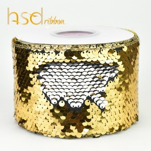 Image 3 - HSDRibbon 75mm double color Sequin Fabric Reversible Glitter Sequin Ribbon 25Yards per Roll for diy bows