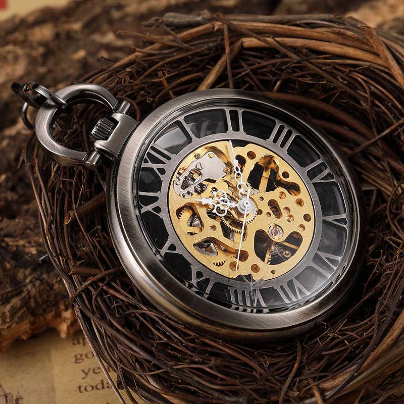 ייחודי ברונזה חלול שלד Steampunk הקרמיקה FOB גברים מכאני שעון כיס שרשרת מותניים חיוג רומי רטרו זכר שעון מתנת גברים
