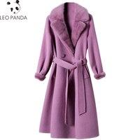 2019 зимняя женская Высококачественная натуральная шерсть шуба из овечьей шерсти, модная куртка с меховым воротником из норки с регулируемой