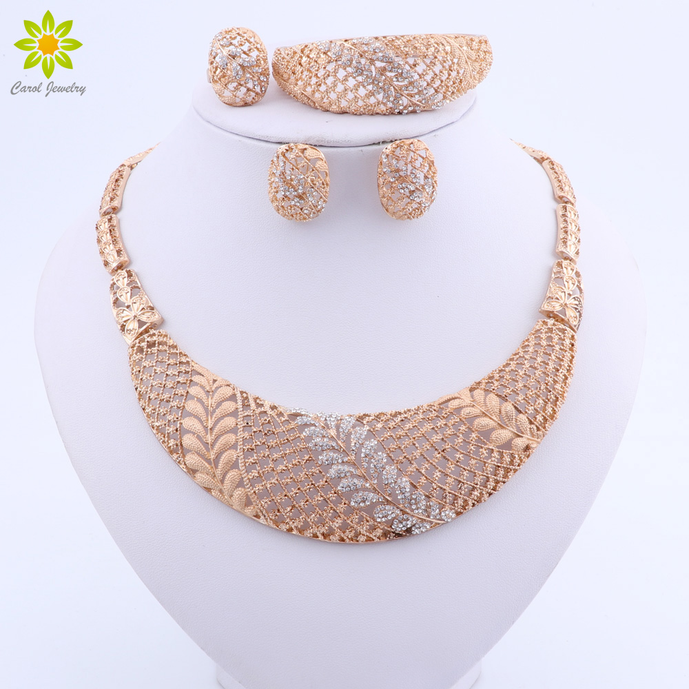 Trendy Leaves Crystal Bridal Jewelry Sets Gold Color Rhinestone Party Necklace Sets Wedding Jewelry
