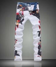 Fashion New men flower print skinny jeans fashion denim pencil trousers