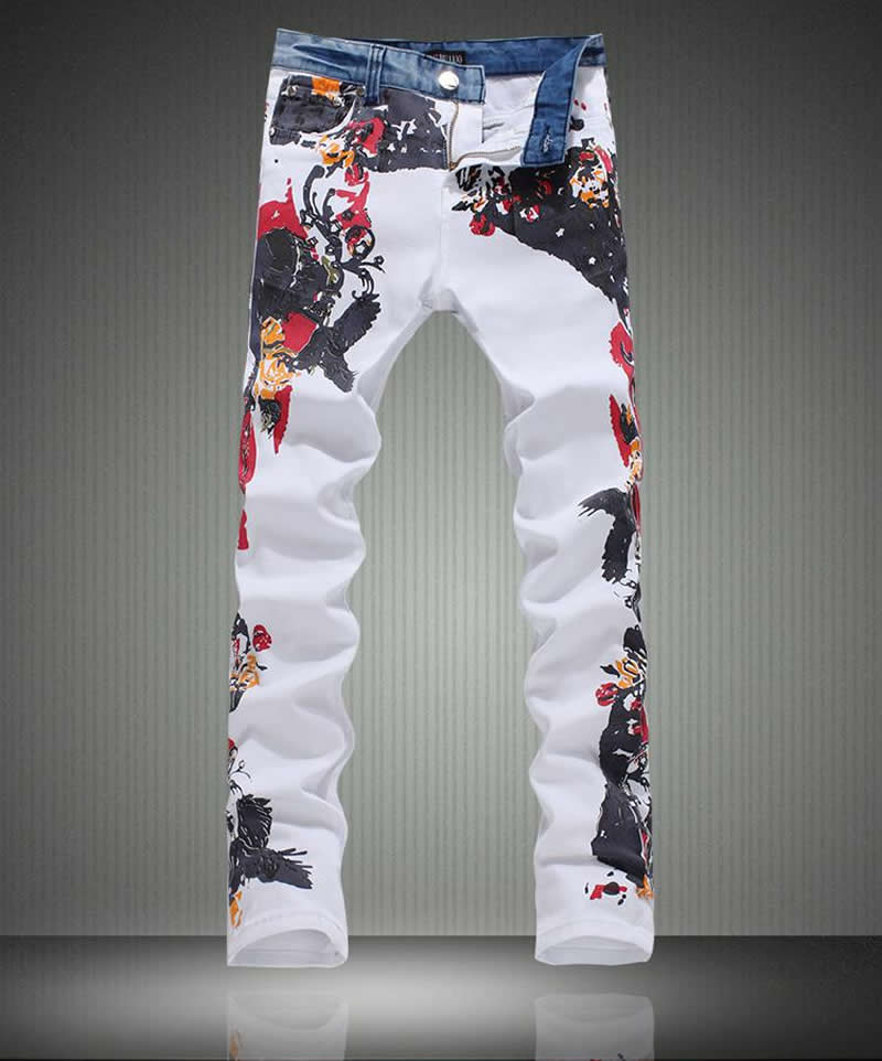 Fashion New men flower print skinny jeans fashion denim pencil trousers new men flower print skinny jeans fashion denim pencil trousers 0931