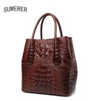 Genuine Leather women bags Handmade luxury handbags women bags designer big bag Crocodile embossing women leather handbags