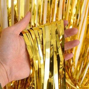 2 м золотой серебряный металлик Блестки из фольги бахрома занавеска украшение на день рождения свадьба фотография Фон занавеска реквизит д...