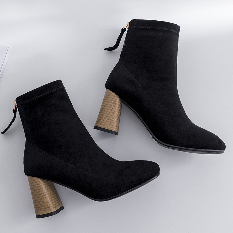 2019 New Women Boots Woman Genuine Leather cow leather suede short boots fashion Handmade Classic pointed toe Sheepskin insole in Ankle Boots from Shoes