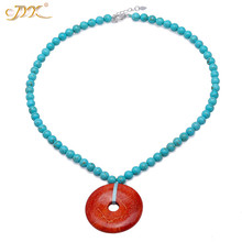 JYX Ping style Turquoise Necklace 6.5mm Blue Faceted dotted a Red Round 35*35mm Coral Pendant 16.5