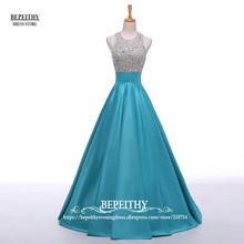 Real Image A Line Long Evening Dress Beadings Crystal Bodice Open Back Party Elegant 2017 Vestido De Festa New Prom Gowns