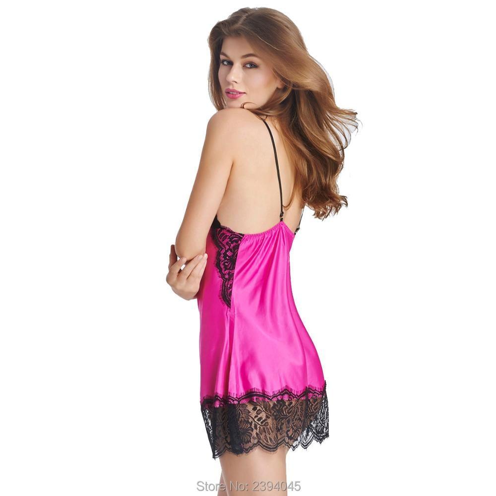 25c5b503ab Ladies Sexy Silk Satin Night Dress Sleeveless Nighties V neck ...