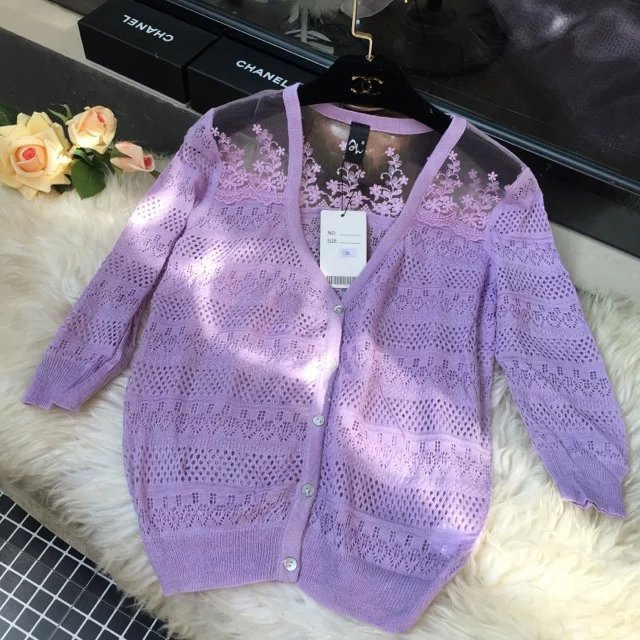 In the spring of the new Korean ice cream knit cardigan sweater female hollow cardigan sweater
