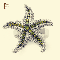 Hot Sale 925 Sterling Silver Rings 2 Style Starfish Zirconia Open Mouth Women Ring Glam And