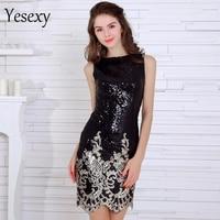 Yesexy 2017 Sexy irregular neck sleeveless sequin black color dress VR8205
