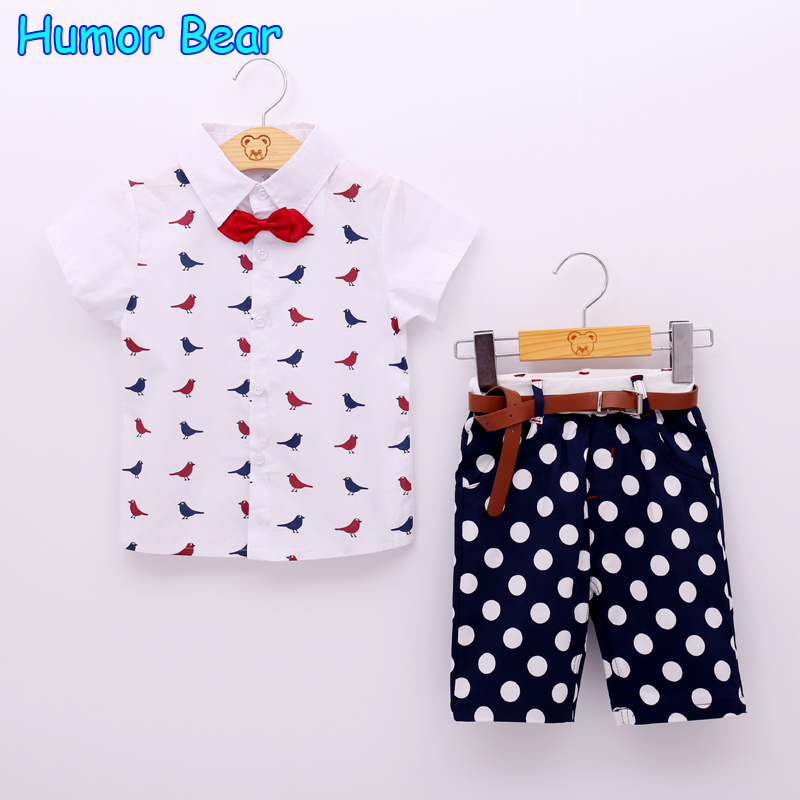 Humor Bear Fishion Baby Boy Clothes Set Children Clothing Bird Blouse+Dot Pant+Bowknot+Belt 4 pcs Suit Casual Infant Clothing