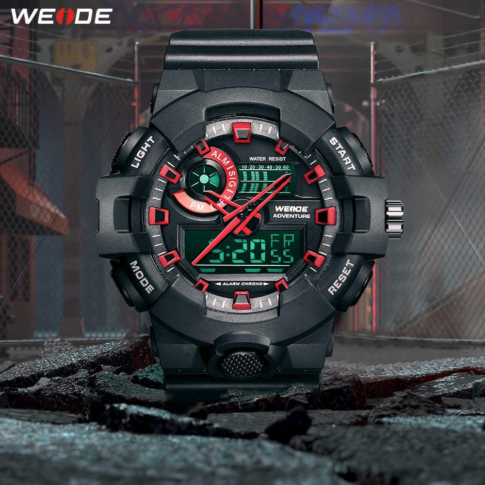WEIDE ספורט יוקרה שעה שעון מים עמיד מעורר משחזר לוח שנה קוורץ אנלוגי דיגיטלי גברים שעוני יד Relogio Masculino