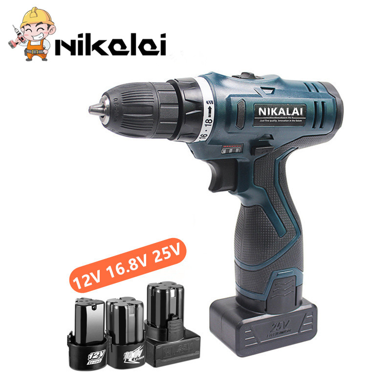 16.8V 25V Rechargeable Lithium Battery Multifunction Electric Screwdriver Cordless Electric Drill Bit Suitcase Power Tool Set
