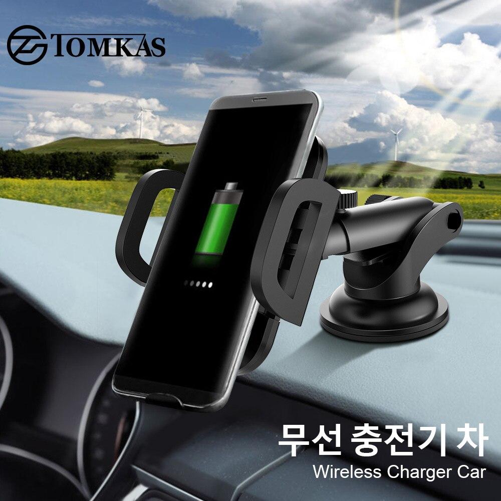 TOMKAS 10 Вт Qi Беспроводной автомобиля Зарядное устройство для iPhone х Автомобильное крепление быстро Зарядное устройство Беспроводной зарядная...
