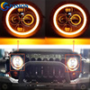 7INCH LED Headlight White Amber Halo Angel Eye DRL LED Projection LENS For Harley Davidson Motorcycle