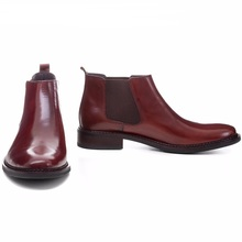 Large size EUR45 Brown tan / black man business shoes ankle boots genuine leather mens shoes fashion dress shoes