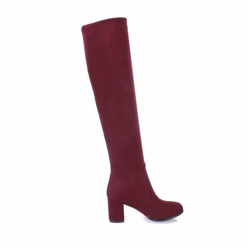 Женские ботфорты из флока; модные сапоги на высоком квадратном каблуке; зимняя женская обувь без застежки; цвет синий, винный, красный, черный, Леопардовый