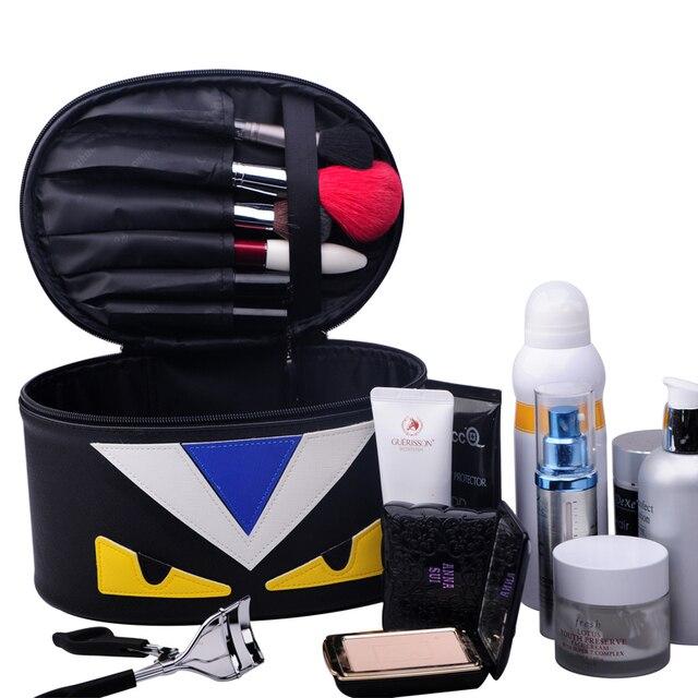 VENTA CALIENTE de la manera venta caliente compone el bolso grande capacidad Amarillo de la historieta Ojos cosméticos caja de almacenamiento multifuncional caja de herramientas de belleza bolsa