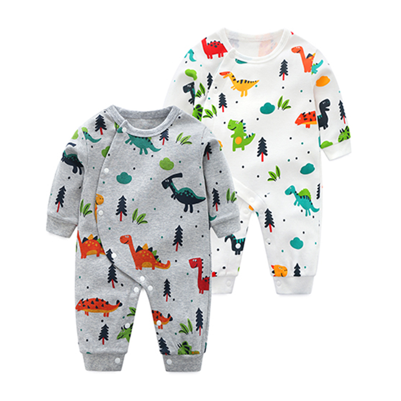YiErYing Newborn Clothing 2018 New Baby Boy Girl Rompers Cartoon Dinosaur Print Long 100% Cotton Long Sleeve Infant pajamas lemonmiyu cotton baby rompers long sleeve newborn pajamas animal print infant boy girl one piece spring autumn baby clothes