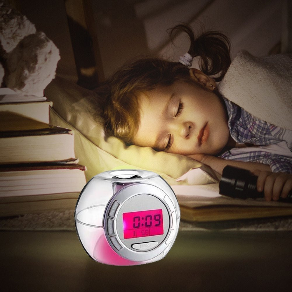 Wake Up Light Clock For Kids Child Toddler Adults 7 Colors Changing Alarm Clock Monitor Snooze Function Alarm Clocks 0223