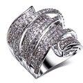 Новое прибытие Роскошные кольца ААА класса Ясно белый Синтетический кубический цирконий Женщин большой моды кольца Бесплатная доставка