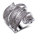 New arrival Luxury rings AAA grade Clear white Synthetic cubic zirconia Womens large fashion rings Free shipping