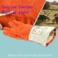 Genuine luvas de couro da soldadura orange soldadores de alta temperatura resistente ao desgaste-resistentes ao calor isolamento luva de proteção do trabalho