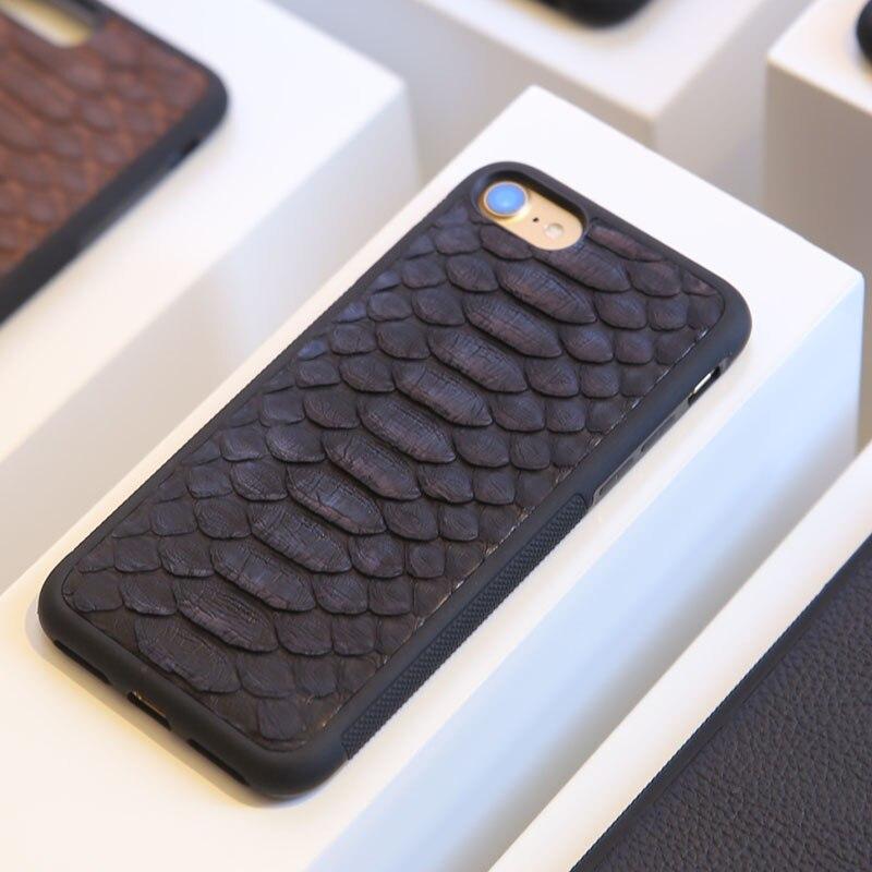 imágenes para Natural Caso de la Cubierta Verdadera Del Cuero Genuino Para el iphone 7 6 6 S Plus 5 SE Case 3D Caja Del Teléfono de Diseño de Piel de Serpiente Pitón nombre personalizado