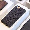 Natural genuíno real capa de couro case para iphone 7 6 6 s plus 5 se case 3d pele de cobra python projeto nome personalizado phone case