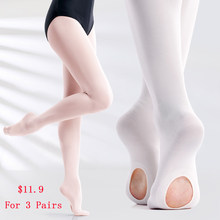 Kids Girls Ballet Tights Soft Transition Tights Dance Pantyhose Women Seamless Ballet Stockings With Hole 60D 3 Pairs(China)