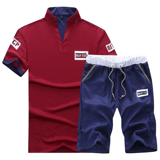FALIZA nouveau costume de mode homme survêtement hommes Shorts marque dété t-shirt hommes lettre imprimé Sportsuit ensemble hommes haut hommes chemise Set101