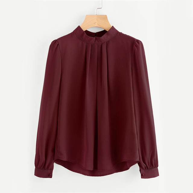 Dotfashion Pleated Detail Button Keyhole Back Chiffon Blouse Autumn Band Collar Button Top 2017 Equipment Long Sleeve Blouse