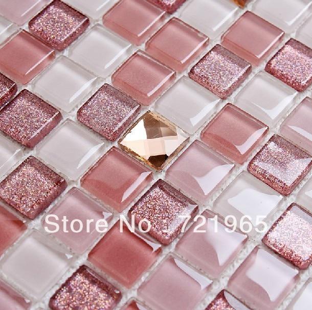 Crystal glass mosaic tile kitchen backsplash cgmt195 pink glass mirror mosaic for bathroom wall for Shattered mirror bathroom floor