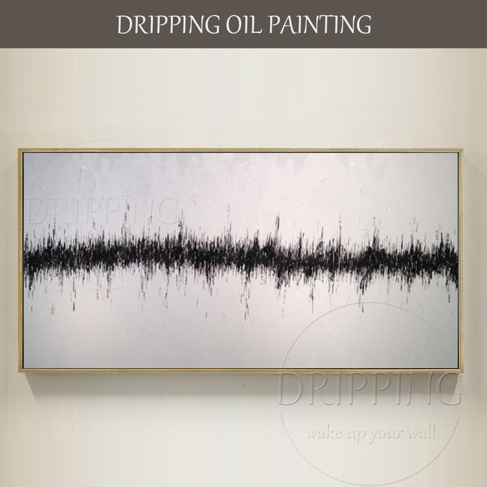Simple Design Modern Black and White Canvas Oil Painting Large Canvas Abstract White and Black Oil Painting for Living Room
