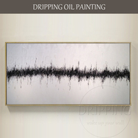 Simple Design Modern Black And White Canvas Oil Painting Large Canvas Abstract White And Black Oil