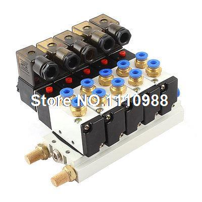 DC 24V 2 Position 5 Way Quadruple Solenoid Valve w Base Push In Silencer 4v series 24v dc solenoid valve