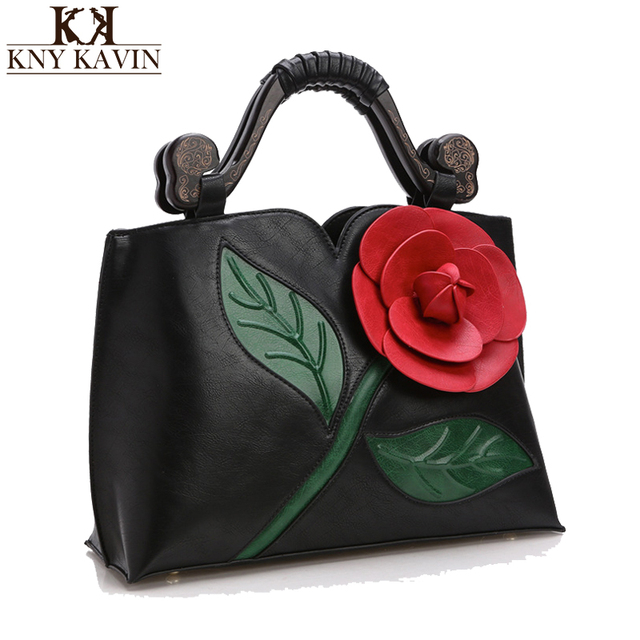 2017 Big Rose Flower Women Leather Handbags Luxury Women Handbag Famous Brand Female Tote Women Messenger Bag Vintage Women Bag