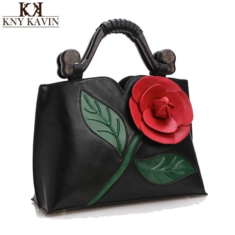 4a2eac32b Kny kavin 3D Rose flor mujeres cuero bolsos de lujo de las señoras  top-Handle mujer famosa marca Totes Mensajero de la vendimia elegante