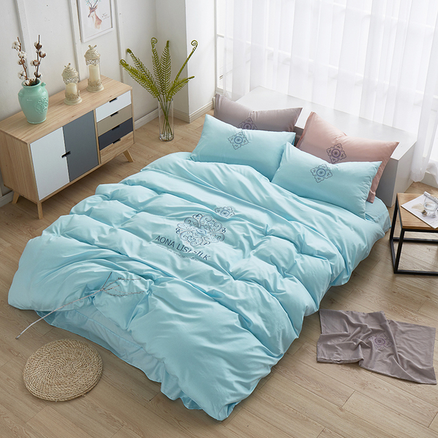 Simple Embroidered High Quality Cotton Bedding Set Solid Color Blue Pink Purple Grey Duvet Cover Bed
