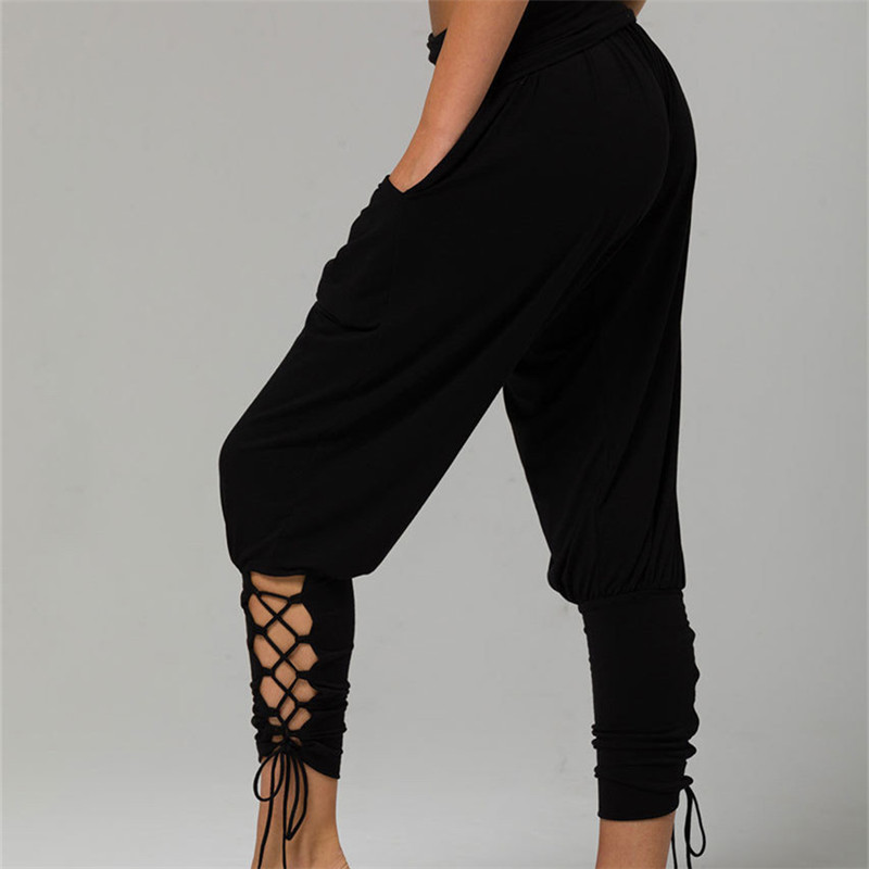 2018 New Women Criss Cross Jogger   Pants   Hollow Out Baggy Aladdin Boho Hippy   Pants   Comfy Solid High Waist Trousers