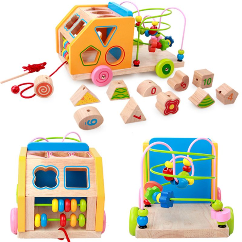 Wooden Geometric Building Blocks Car Matching Color Roller ...