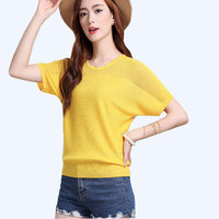2017 Summer New Women Loose Bat Sleeve Shirt Hollow Thin Section Knitted Top Was Thin Short
