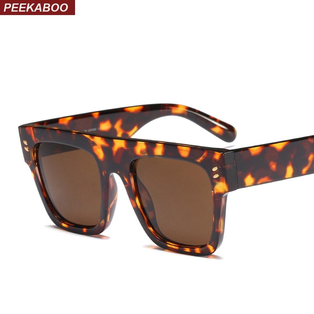 c8957530943c5 Peekaboo retro oversized óculos de sol para homens 2019 leopardo preto flat  top óculos de sol